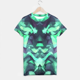 Abstract Surreal Chaos theory in Modern poison turquoise green T-shirt thumbnail image