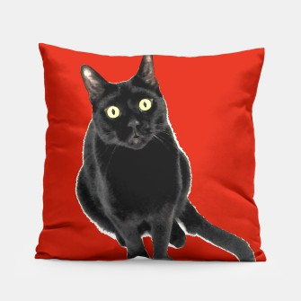 Thumbnail image of Black Kitty Cat Pillow, Live Heroes