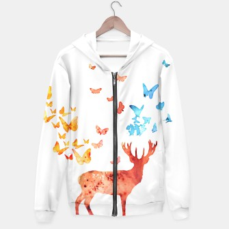 Thumbnail image of Deer and Butterflies Hoodie, Live Heroes
