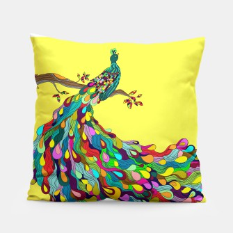 Thumbnail image of Colorful Peacock Pillow, Live Heroes