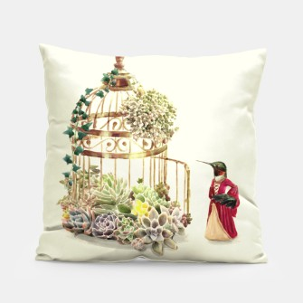 Thumbnail image of Lady Hummingbird Pillow, Live Heroes