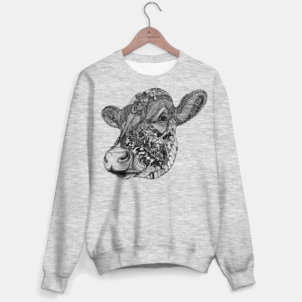 Thumbnail image of Cow Motif sweater /gray, Live Heroes