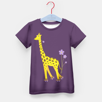 Thumbnail image of Cute Skating Giraffe Kids Tee, Live Heroes