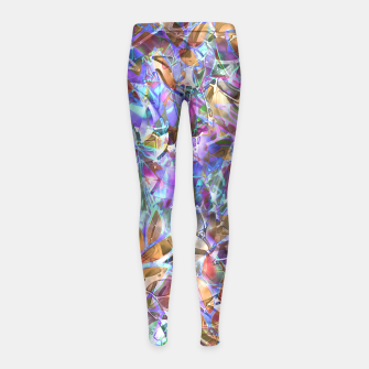 Miniaturka Floral Abstract Stained Glass G268 Girl's Leggings, Live Heroes