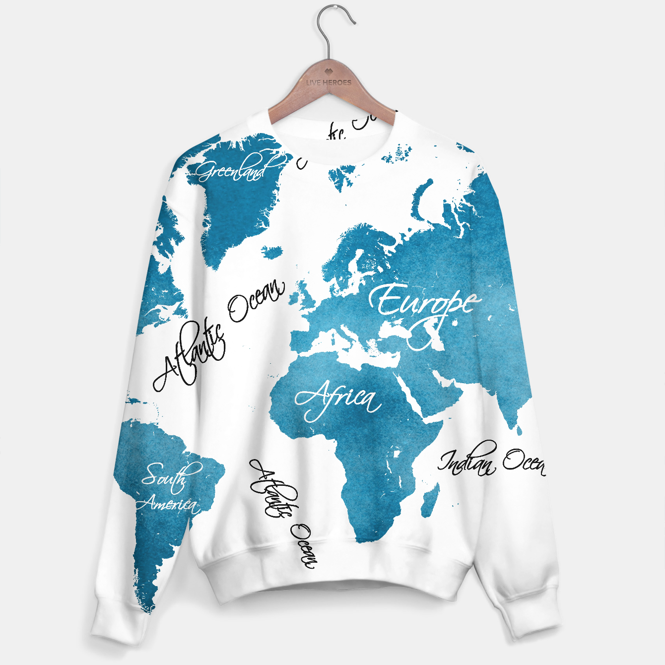 Image of World map blue sweater - Live Heroes