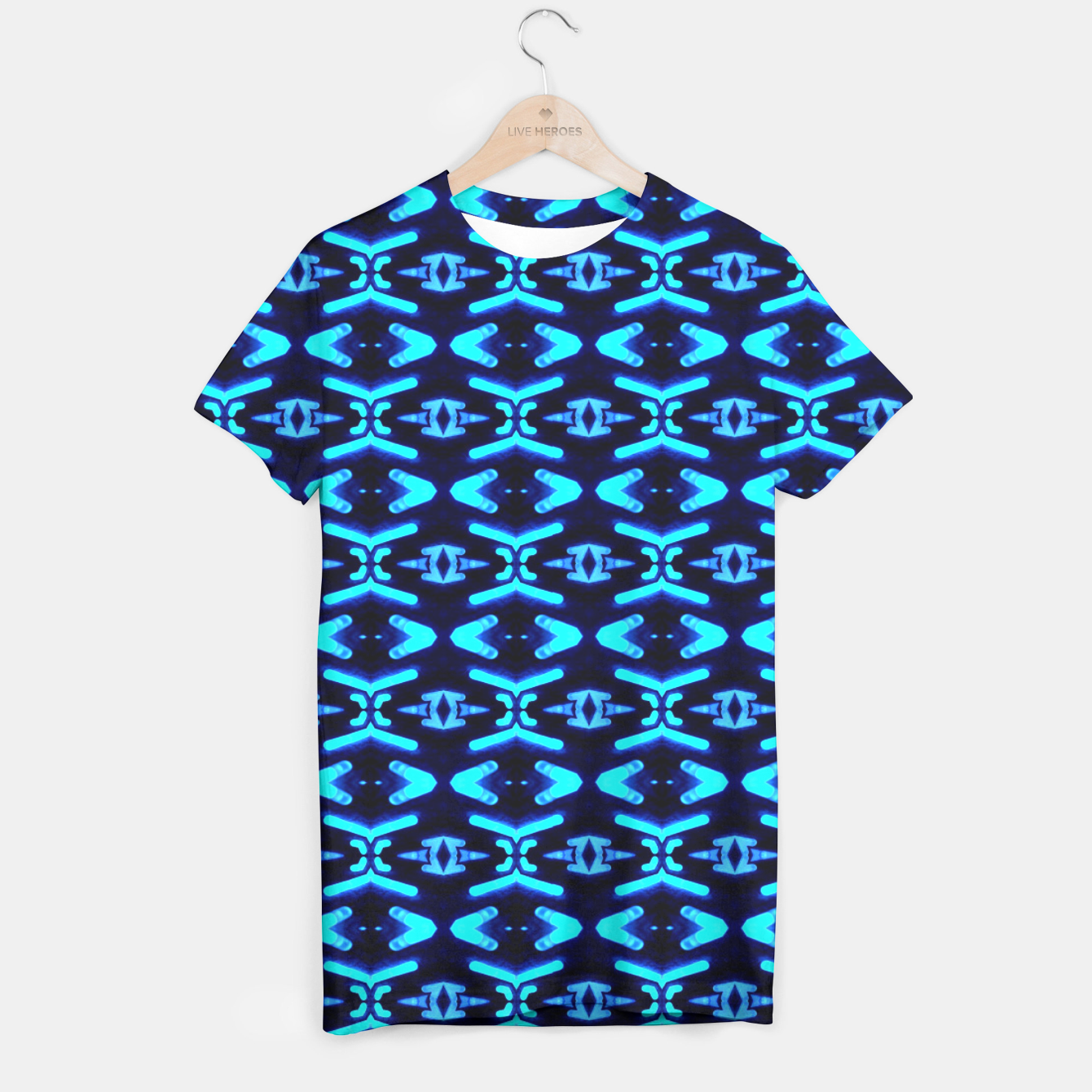 Bright Neon Blue Pattern T Shirt Live Heroes