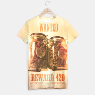 "Thumbnail image of WANTED ""REWARD 420"" ALL OVER PRINT T-SHIRT, Live Heroes"