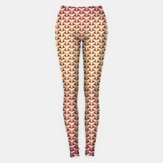 Optical illusion - Impossible Pattern -  Gold Grid Pattern Leggings miniature
