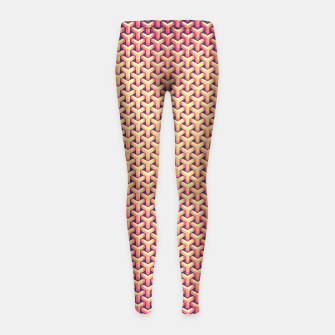 Optical illusion - Impossible Pattern -  Gold Grid Pattern Girl's Leggings miniature