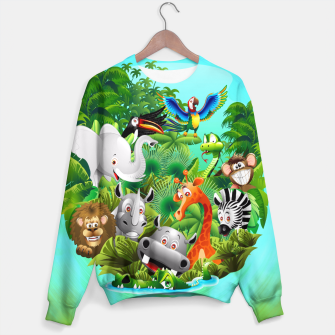 Thumbnail image of Wild Animals Cartoon on Jungle Sweater, Live Heroes