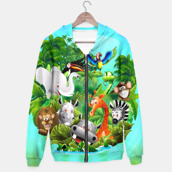 Thumbnail image of Wild Animals Cartoon on Jungle Hoodie, Live Heroes
