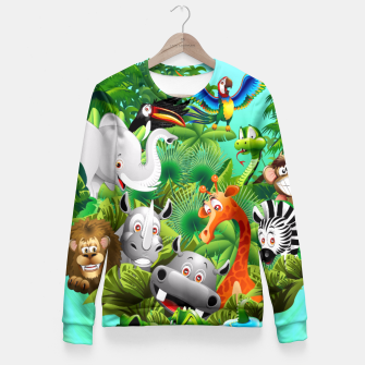 Thumbnail image of Wild Animals Cartoon on Jungle Fitted Waist Sweater, Live Heroes