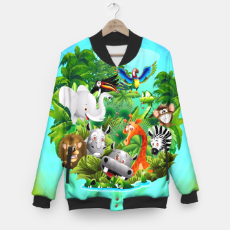 Thumbnail image of Wild Animals Cartoon on Jungle Baseball Jacket, Live Heroes