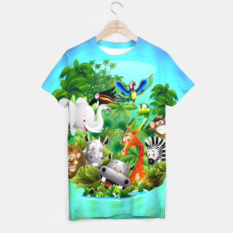Thumbnail image of Wild Animals Cartoon on Jungle T-shirt, Live Heroes