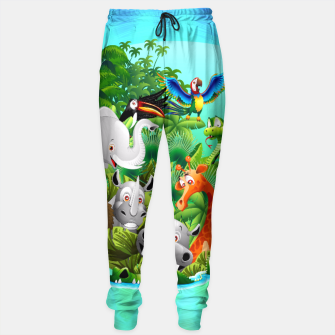 Thumbnail image of Wild Animals Cartoon on Jungle Sweatpants, Live Heroes