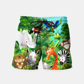 Thumbnail image of Wild Animals Cartoon on Jungle Swim Shorts, Live Heroes