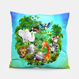 Thumbnail image of Wild Animals Cartoon on Jungle Pillow, Live Heroes