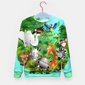 Thumbnail image of Wild Animals Cartoon on Jungle Kid's Sweater, Live Heroes
