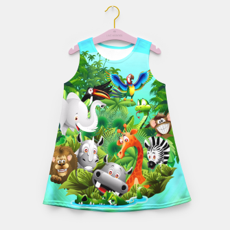 Thumbnail image of Wild Animals Cartoon on Jungle Girl's Summer Dress, Live Heroes
