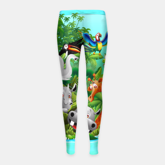 Thumbnail image of Wild Animals Cartoon on Jungle Girl's Leggings, Live Heroes
