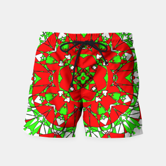 Red Green Moroccan Tile Design Swim Shorts thumbnail image