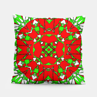 Red Green Moroccan Tile Design Pillow thumbnail image
