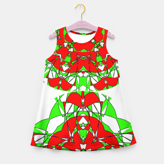 Red Green Moroccan Tile Design Girl's Summer Dress thumbnail image