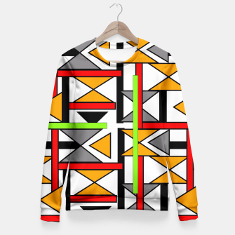 Thumbnail image of Geometric Abstract Funky Colorful Print Fitted Waist Sweater, Live Heroes