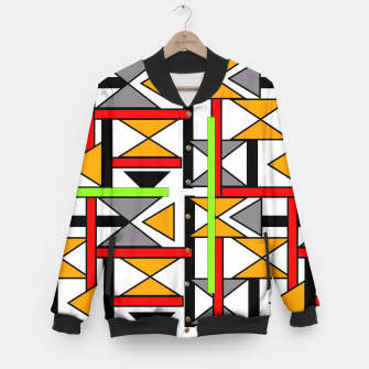 Thumbnail image of Geometric Abstract Funky Colorful Print Baseball Jacket, Live Heroes