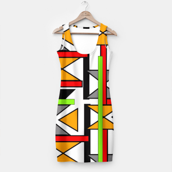 Thumbnail image of Geometric Abstract Funky Colorful Print Simple Dress, Live Heroes