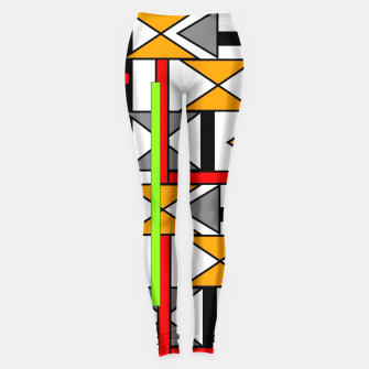 Thumbnail image of Geometric Abstract Funky Colorful Print Leggings, Live Heroes