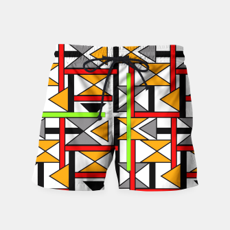 Thumbnail image of Geometric Abstract Funky Colorful Print Swim Shorts, Live Heroes