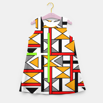 Thumbnail image of Geometric Abstract Funky Colorful Print Girl's Summer Dress, Live Heroes