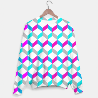 Thumbnail image of Bold Modern Geometric Optical Cubes Print Sweater, Live Heroes