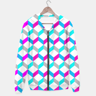 Thumbnail image of Bold Modern Geometric Optical Cubes Print Hoodie, Live Heroes