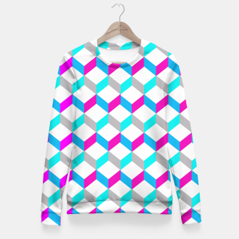 Thumbnail image of Bold Modern Geometric Optical Cubes Print Fitted Waist Sweater, Live Heroes