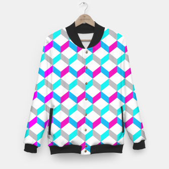 Thumbnail image of Bold Modern Geometric Optical Cubes Print Baseball Jacket, Live Heroes