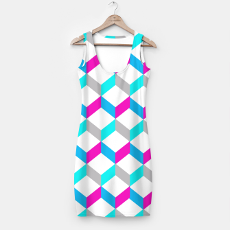Thumbnail image of Bold Modern Geometric Optical Cubes Print Simple Dress, Live Heroes