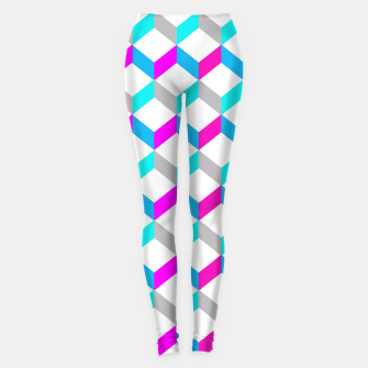 Thumbnail image of Bold Modern Geometric Optical Cubes Print Leggings, Live Heroes
