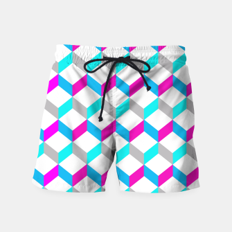 Thumbnail image of Bold Modern Geometric Optical Cubes Print Swim Shorts, Live Heroes