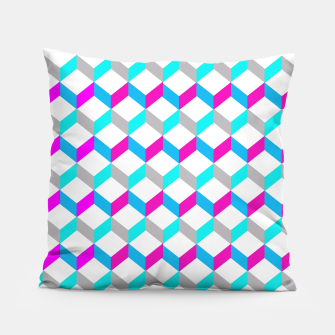 Thumbnail image of Bold Modern Geometric Optical Cubes Print Pillow, Live Heroes