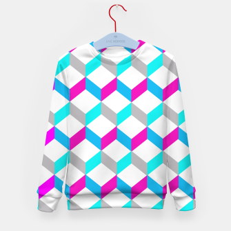 Thumbnail image of Bold Modern Geometric Optical Cubes Print Kid's Sweater, Live Heroes