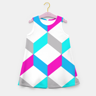 Thumbnail image of Bold Modern Geometric Optical Cubes Print Girl's Summer Dress, Live Heroes
