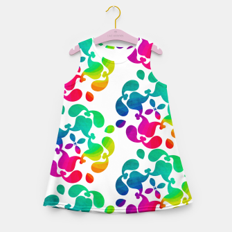 Thumbnail image of Ombre Rainbow Flowery Paisley Pattern Girl's Summer Dress, Live Heroes