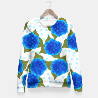 Thumbnail image of Blue Hydrangeas Floral Print  Fitted Waist Sweater, Live Heroes