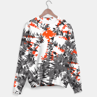 Thumbnail image of Orange Grey Mix Ikat Abstract Print Sweater, Live Heroes
