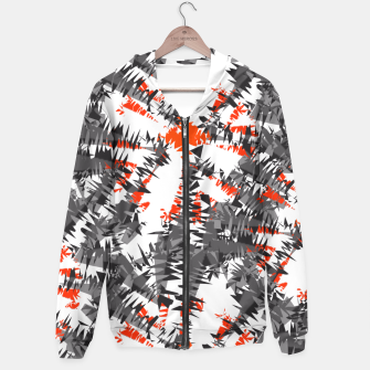 Orange Grey Mix Ikat Abstract Print Hoodie thumbnail image