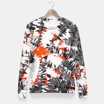 Thumbnail image of Orange Grey Mix Ikat Abstract Print Fitted Waist Sweater, Live Heroes
