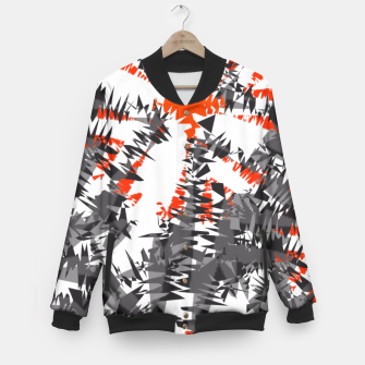 Thumbnail image of Orange Grey Mix Ikat Abstract Print Baseball Jacket, Live Heroes
