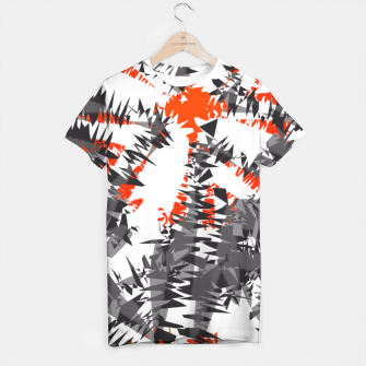 Thumbnail image of Orange Grey Mix Ikat Abstract Print T-shirt, Live Heroes